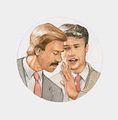 Illustration of man whispering to another man