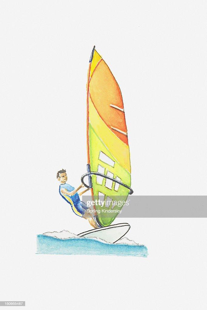 Illustration of man windsurfing at sea : Stock Illustration