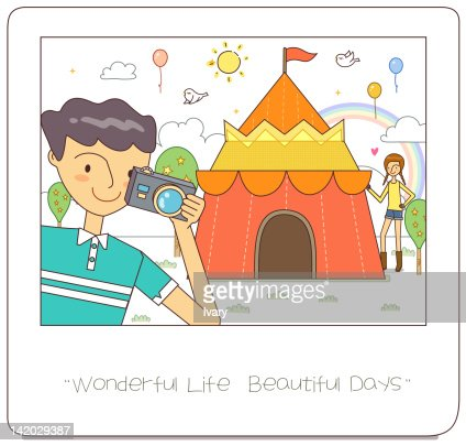 Illustration of man with camera in hand : Stock Illustration