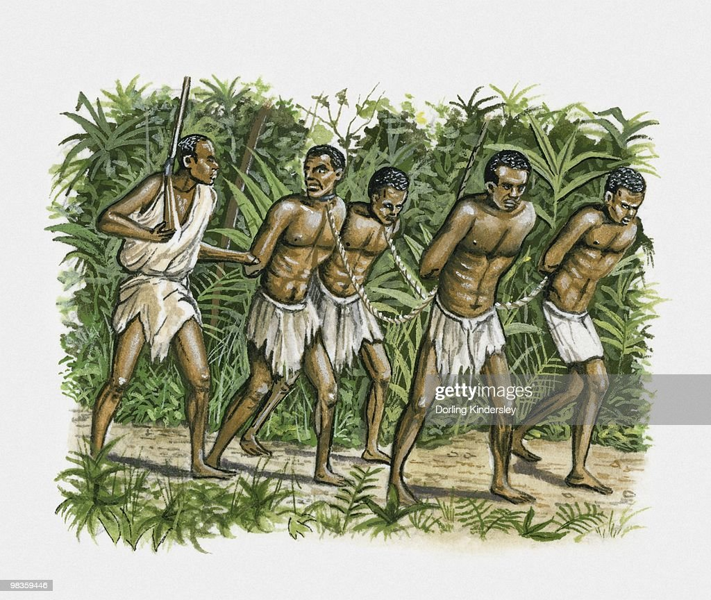 Illustration of man with four slaves chained together : Stock Illustration
