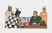 Illustration of Maori signing Treaty of Waitangi in front of British official and Union Jack flag