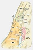 Illustration of map of Judea, the area in which Jerusalem was situated, as it would have been at the time of Jesus
