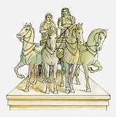 Illustration of marble statue of Mausolus and Artemisia of Caria in horse-drawn chariot, on top of Mausoleum of Halicarnassus