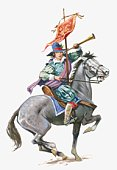 Illustration of Mary Frith (Moll Cutpurse) on horseback holding horn and banner