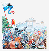 Illustration of medieval castle under attack by enemy, men in full armour and their horses in the foreground