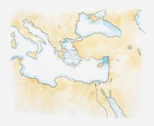 Illustration of mediterranean sea and surrounding land