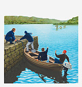 Illustration of men in boat and at water's edge pointing at the Loch Ness Monster