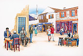 Illustration of men playing cards and smoking hookah pipe at traditional pavement cafe in colourful Turkish town