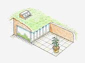 Illustration of modern earth house with glass facade, dormer window on grass roof, and patio