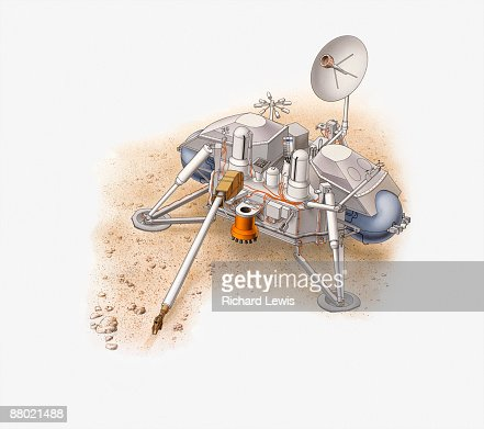 Illustration of NASA Viking 2 Lander on Mars : Stock Illustration