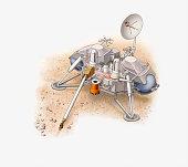 Illustration of NASA Viking 2 Lander on Mars
