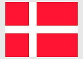 Illustration of national flag of Denmark, with white Scandinavian cross extending to edges of red field