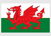 Illustration of national flag of Wales, with red dragon passant on green and white field