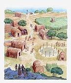 Illustration of native American village
