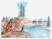 Illustration of Native Americans pointing with young Pocahontas standing behind