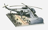 Illustration of Navy helicopter with astronauts returning from Apollo 11 space mission, on ship's landing pad