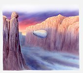 Illustration of of airship travelling through misty and darkening mountain pass