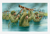 Illustration of of American soldiers wading waist deep in water with rifles held aloft during D Day landing on Utah Beach