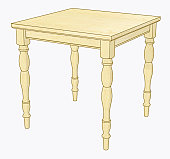 Illustration of old fashioned kitchen table