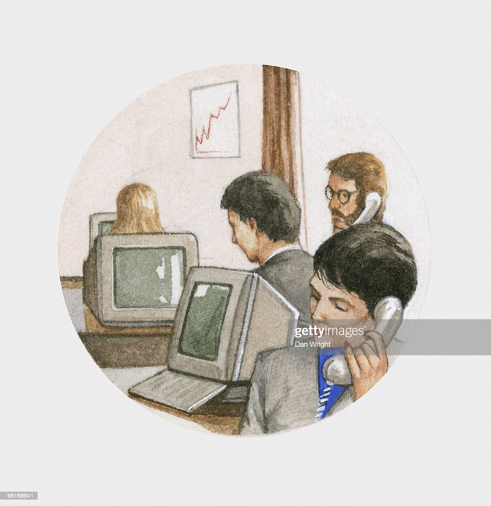 Illustration of people at work in office on desktop computers and talking on telephones : Stock Illustration