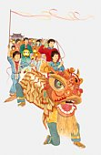 Illustration of people celebrating Chinese New Year with Chinese dragon, lanterns and flags