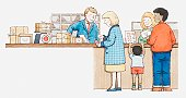 Illustration of people in post office