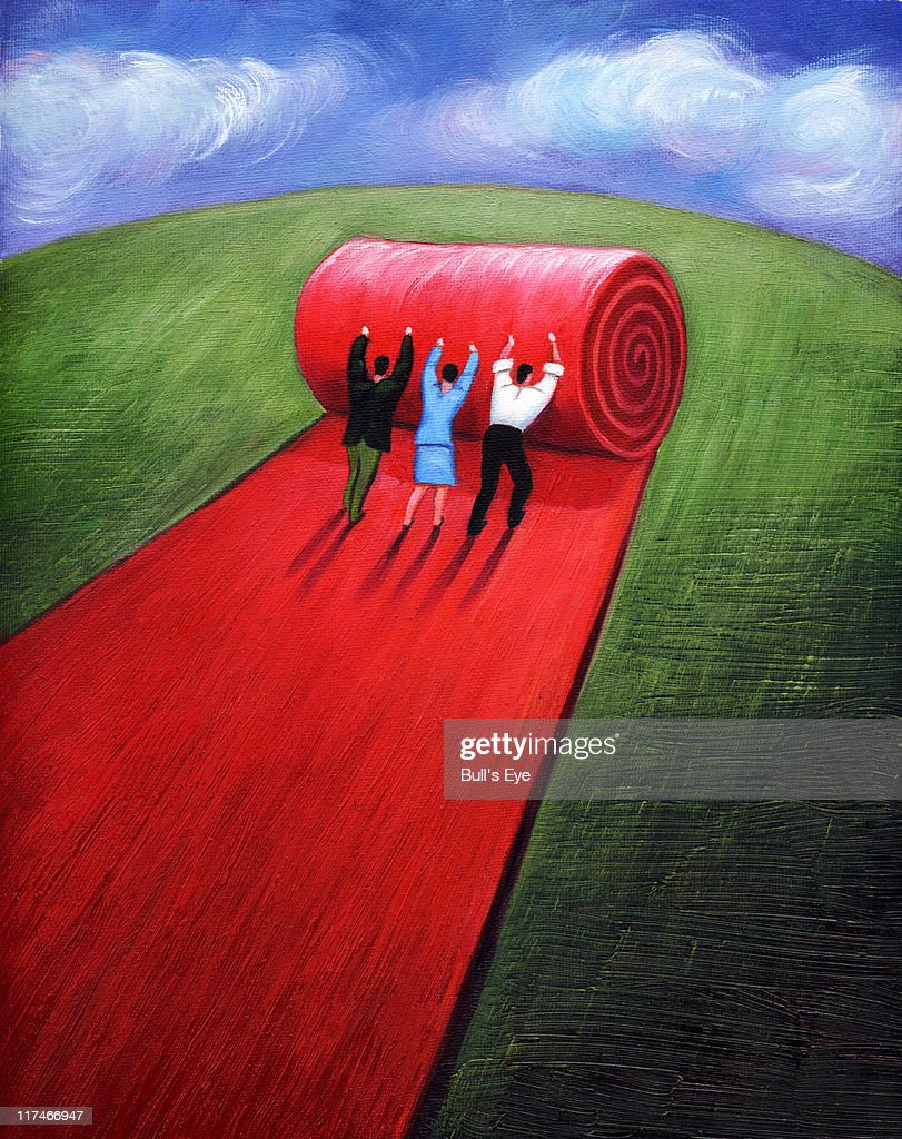Illustration of people rolling out a red carpet : Stock Illustration
