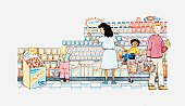 Illustration of people shopping in a supermarket