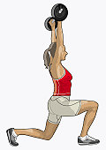 Illustration of performing overhead squat weight training exercise