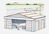 Illustration of plane in hangar and another one on runway