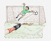 Illustration of player's foot kicking football into goal, goalkeeper in mid-air