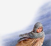Illustration of Pocahontas in snow storm