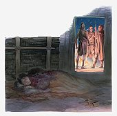 Illustration of Pocahontas lying in bed while a group of men talk outside