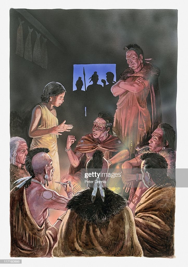 Illustration of Pocahontas speaking to her father and her tribe : Stock Illustration