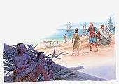 Illustration of Pocahontas talking with Captain John Smith