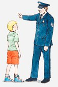 Illustration of policeman giving directions or instructions to a boy