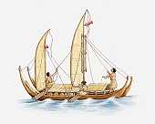 Illustration of Polynesians on a boat