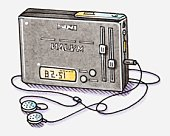 Illustration of portable radio with earphones