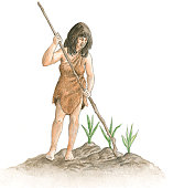 Illustration of prehistoric Mexican woman, wearing animal skin, holding long, thin branch near crops growing in soil