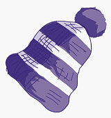 Illustration of purple and white striped bobble hat