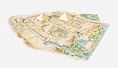 Illustration of Pyramids of Giza, aerial view