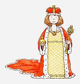 Illustration of queen holding sceptre and orb