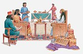 Illustration of Queen of Sheba talking to Solomon, surrounded by servants, gifts on the floor, Book of Kings
