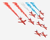 Illustration of Red Arrow planes flying in formation