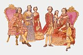 Illustration of Rudolph of Habsburg and family