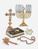 Illustration of religious paraphernalia of Christian and Jewish faiths