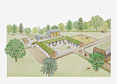 Illustration of riding stables