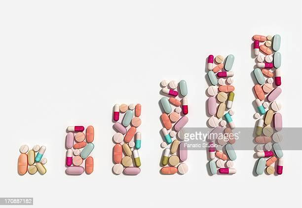Illustration of rising cost of prescription drugs over white background