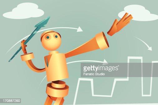 Illustration of robotic businessman aiming arrow to achieve target : Vector Art