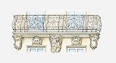 Illustration of Rococo balcony, Nantes, France, c. 1730-1740